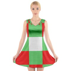 Fabric Christmas Colors Bright V Neck Sleeveless Skater Dress