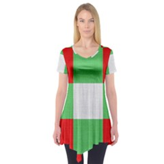Fabric Christmas Colors Bright Short Sleeve Tunic