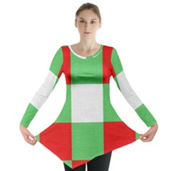 Fabric Christmas Colors Bright Long Sleeve Tunic