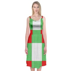 Fabric Christmas Colors Bright Midi Sleeveless Dress