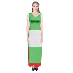 Fabric Christmas Colors Bright Short Sleeve Maxi Dress