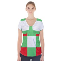 Fabric Christmas Colors Bright Short Sleeve Front Detail Top
