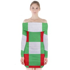 Fabric Christmas Colors Bright Long Sleeve Off Shoulder Dress