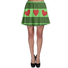 Fabric Christmas Hearts Texture Skater Skirt