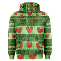 Fabric Christmas Hearts Texture Men s Pullover Hoodie
