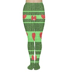 Fabric Christmas Hearts Texture Women s Tights