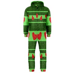 Fabric Christmas Hearts Texture Hooded Jumpsuit (men)