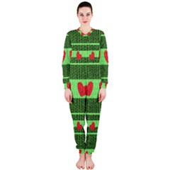 Fabric Christmas Hearts Texture OnePiece Jumpsuit (Ladies)