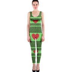 Fabric Christmas Hearts Texture OnePiece Catsuit