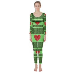 Fabric Christmas Hearts Texture Long Sleeve Catsuit