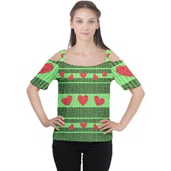 Fabric Christmas Hearts Texture Women s Cutout Shoulder Tee