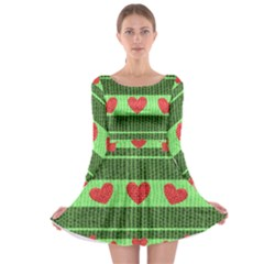 Fabric Christmas Hearts Texture Long Sleeve Skater Dress