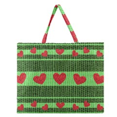 Fabric Christmas Hearts Texture Zipper Large Tote Bag