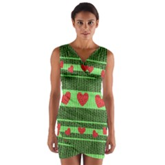 Fabric Christmas Hearts Texture Wrap Front Bodycon Dress