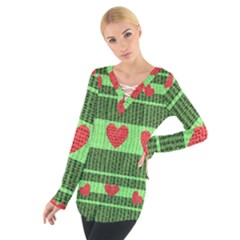 Fabric Christmas Hearts Texture Women s Tie Up Tee