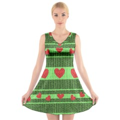 Fabric Christmas Hearts Texture V Neck Sleeveless Skater Dress