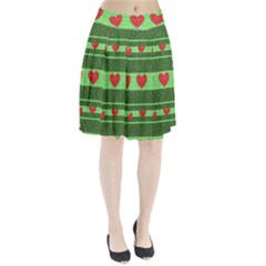 Fabric Christmas Hearts Texture Pleated Skirt