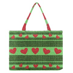 Fabric Christmas Hearts Texture Medium Zipper Tote Bag