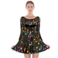 Fabric Cloth Textile Clothing Long Sleeve Skater Dress
