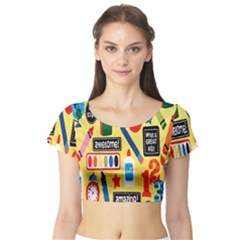 Fabric Cloth Textile Clothing Short Sleeve Crop Top (Tight Fit)