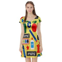 Fabric Cloth Textile Clothing Short Sleeve Skater Dress