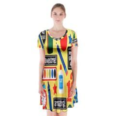 Fabric Cloth Textile Clothing Short Sleeve V Neck Flare Dress