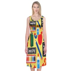 Fabric Cloth Textile Clothing Midi Sleeveless Dress