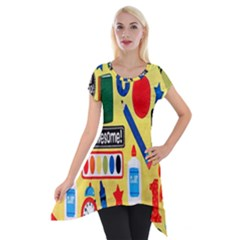 Fabric Cloth Textile Clothing Short Sleeve Side Drop Tunic