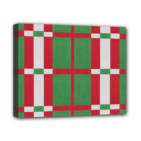 Fabric Green Grey Red Pattern Canvas 10  x 8