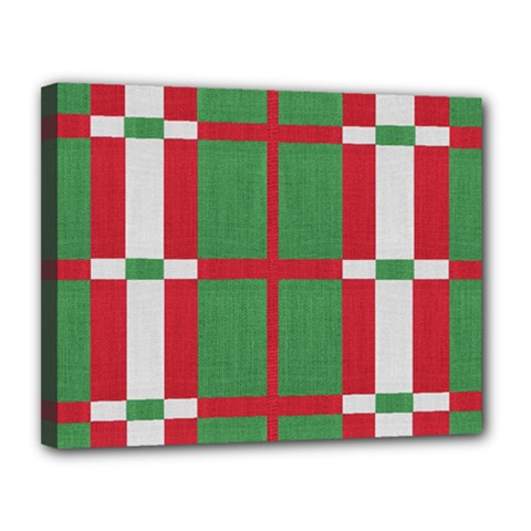 Fabric Green Grey Red Pattern Canvas 14  x 11