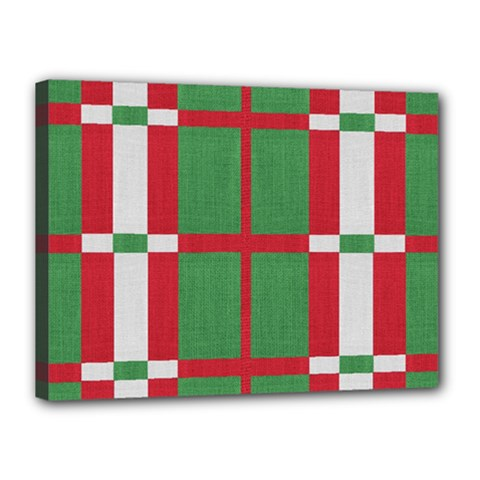Fabric Green Grey Red Pattern Canvas 16  x 12