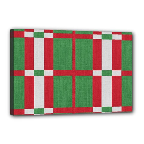 Fabric Green Grey Red Pattern Canvas 18  x 12