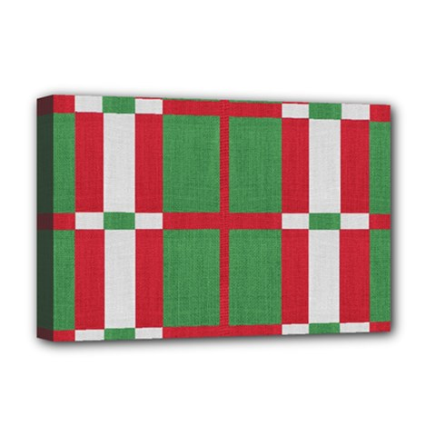 Fabric Green Grey Red Pattern Deluxe Canvas 18  x 12