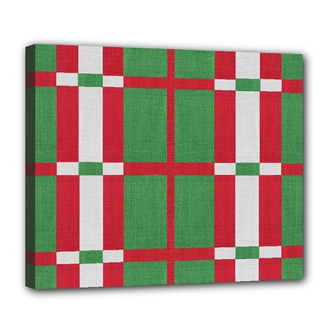 Fabric Green Grey Red Pattern Deluxe Canvas 24  x 20