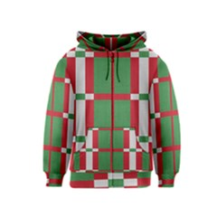 Fabric Green Grey Red Pattern Kids  Zipper Hoodie