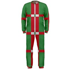 Fabric Green Grey Red Pattern OnePiece Jumpsuit (Men)