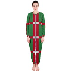 Fabric Green Grey Red Pattern OnePiece Jumpsuit (Ladies)