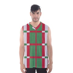 Fabric Green Grey Red Pattern Men s Basketball Tank Top