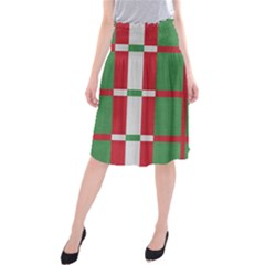 Fabric Green Grey Red Pattern Midi Beach Skirt