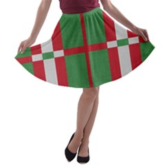 Fabric Green Grey Red Pattern A-line Skater Skirt