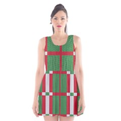 Fabric Green Grey Red Pattern Scoop Neck Skater Dress
