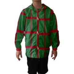 Fabric Green Grey Red Pattern Hooded Wind Breaker (kids)