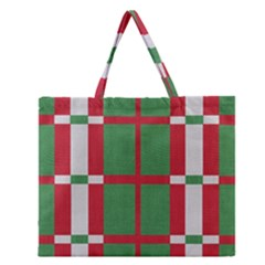Fabric Green Grey Red Pattern Zipper Large Tote Bag