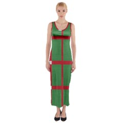Fabric Green Grey Red Pattern Fitted Maxi Dress