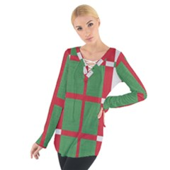 Fabric Green Grey Red Pattern Women s Tie Up Tee