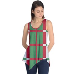 Fabric Green Grey Red Pattern Sleeveless Tunic