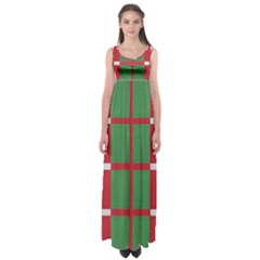 Fabric Green Grey Red Pattern Empire Waist Maxi Dress