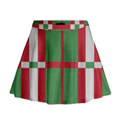Fabric Green Grey Red Pattern Mini Flare Skirt