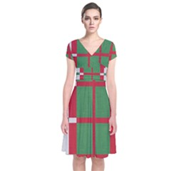 Fabric Green Grey Red Pattern Short Sleeve Front Wrap Dress