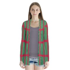 Fabric Green Grey Red Pattern Cardigans